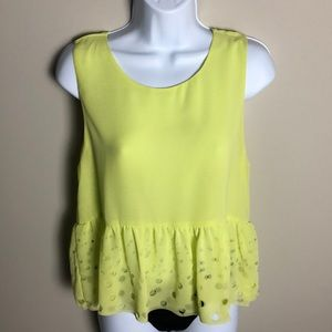 Cotton Candy Neon Yellow Peplum Blouse Size S